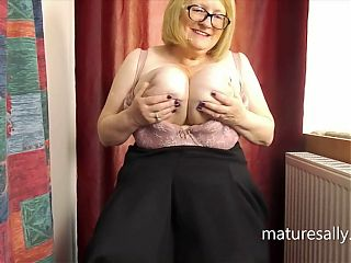 Sally teases in her seamed pantyhose