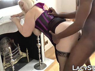 Mature British hottie impaled on big black cock hardcore