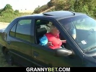 Guy doggy-fucks very old blonde granny roadside