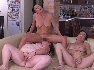 Lesbian threesome with mature mothers