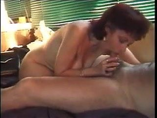 Hot older lady sucking dick, rimming and drinking cum