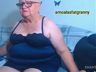 How beautiful the fat grandmother looks in several dresses
