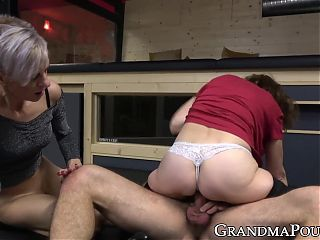 Slutty grannies cant get enough young dick in hot threesome