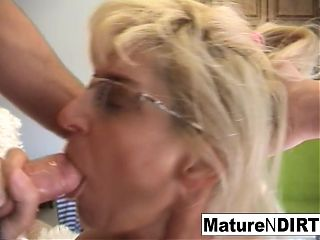 Mature blonde slut receives an anal fucking