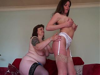 Lesbian sex with two mature moms