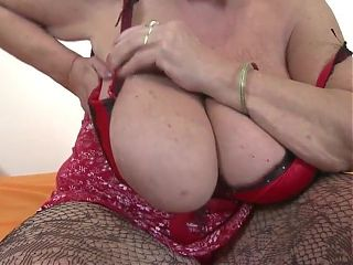 Old Granny With a Hairy Pussy and Big Tits Masturbating