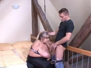 German grandma with huge tits gets fucked by a young guy