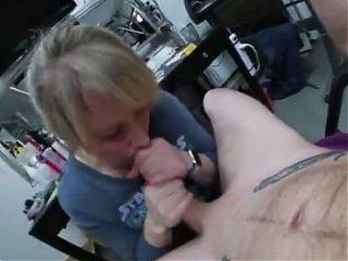 Mature blonde handles Big White Cock