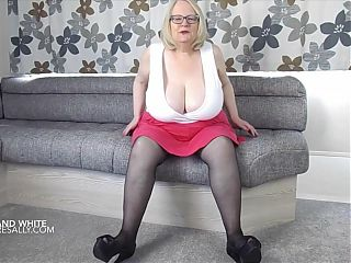 Huge granny tits in very tight white top