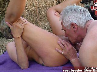 German mature grandma fucked outdoors in amateur porn
