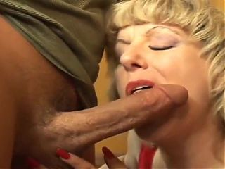 Blond granny fucked by 2 guys, one in her ass